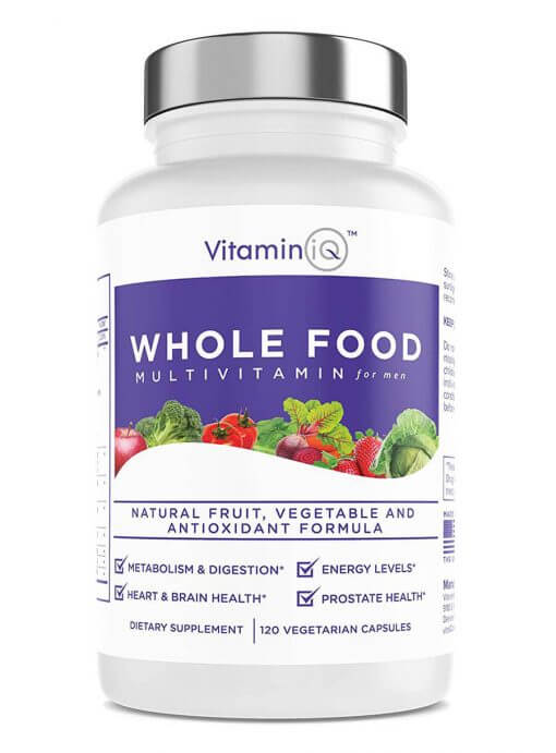 VitaminIQ - Whole Food Multivitamin for Men, 120 Vegetarian Capsules, Men's Multi Vitamin and Mineral Supplement, Antioxidant Rich, Calcium, Magnesium